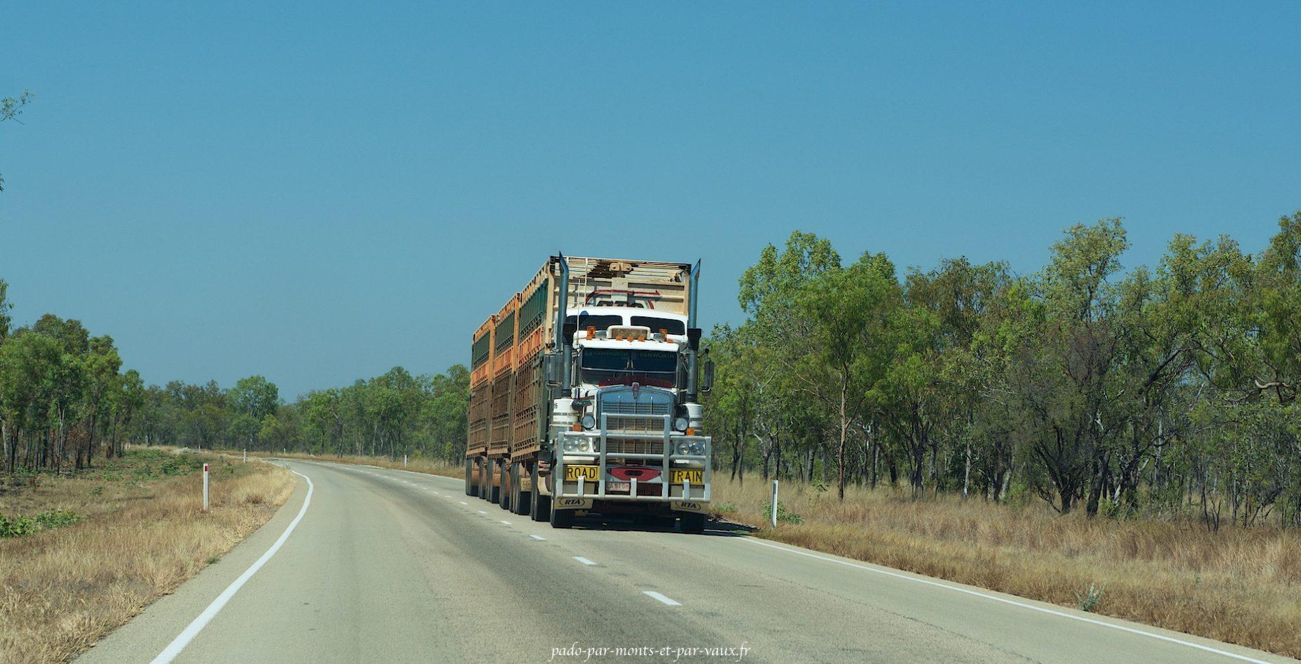 Road train sur la Stuart Hway