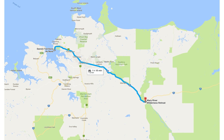 Trajet Darwin - Mary River