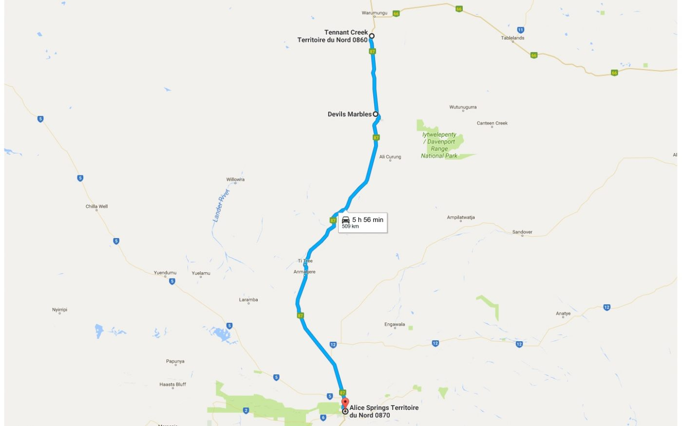 Trajet Tennant Creek - Alice Springs