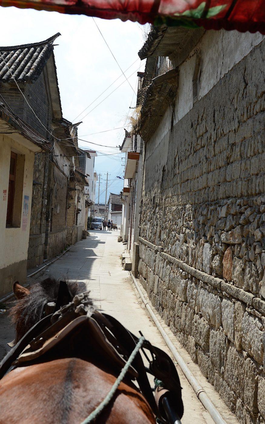 En carriole à cheval dans les petits villages
