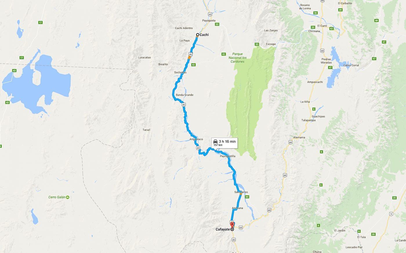 trajet Cachi-Cafayate