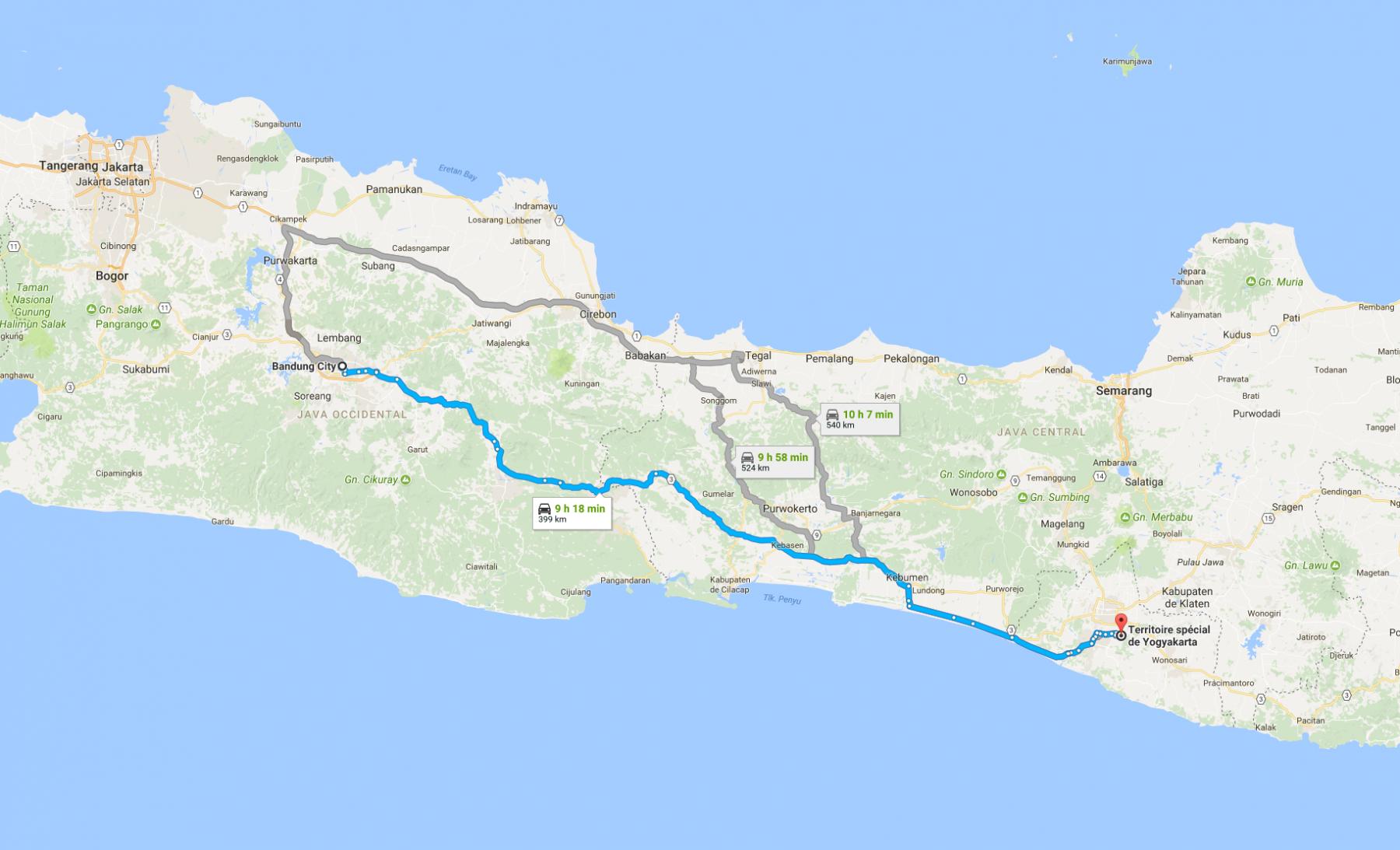 Trajet Bandung - Yogyakarta