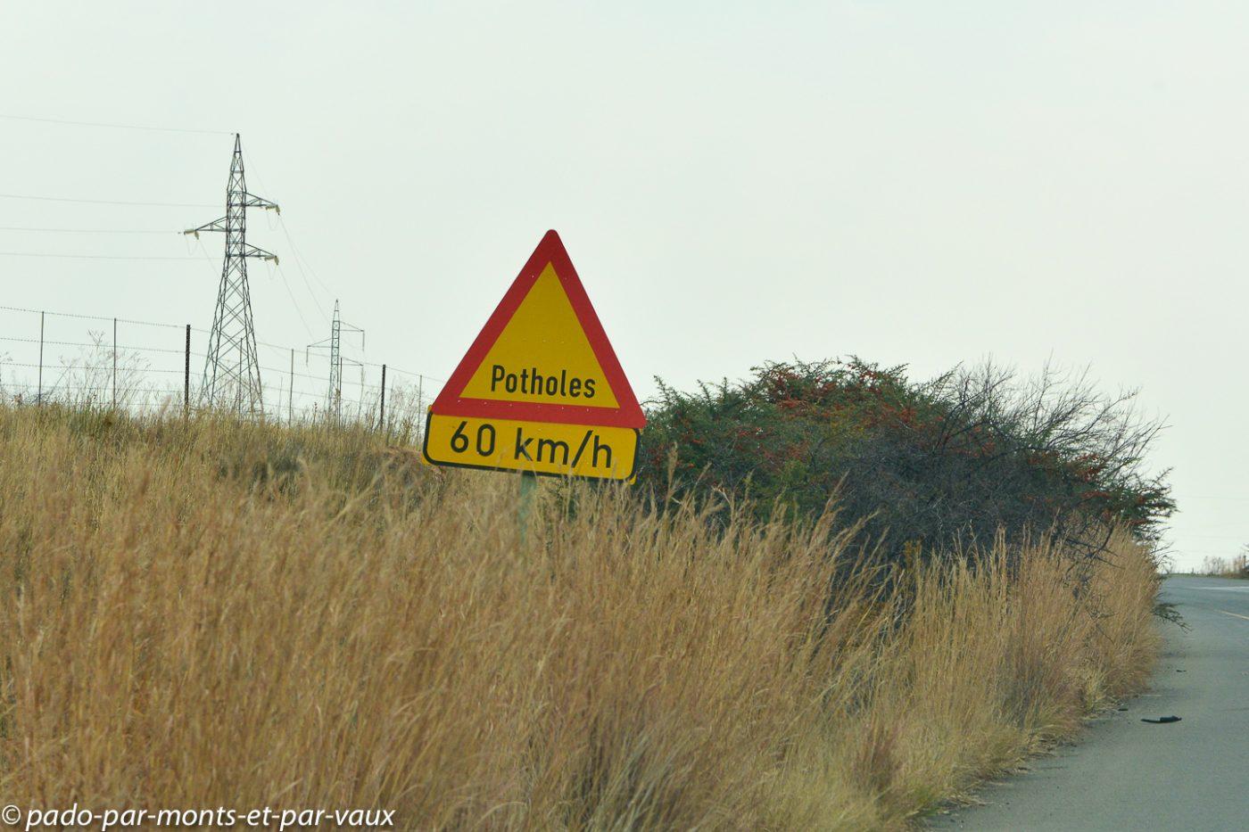 Afrique du Sud - nids de poule