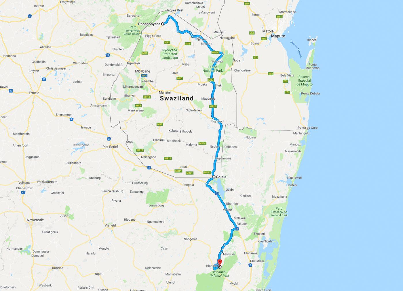 Swaziland - trajet du jour