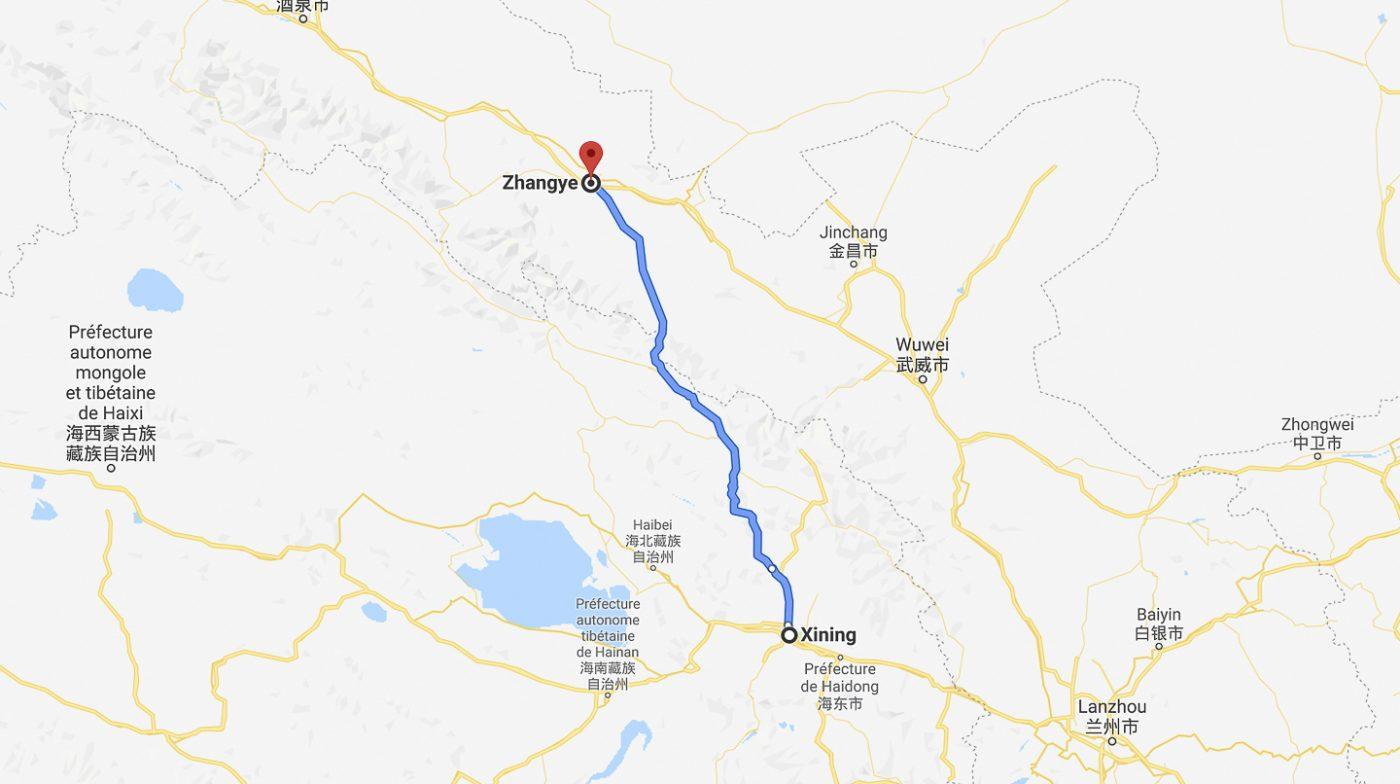 Trajet  de Xining à Zhangye