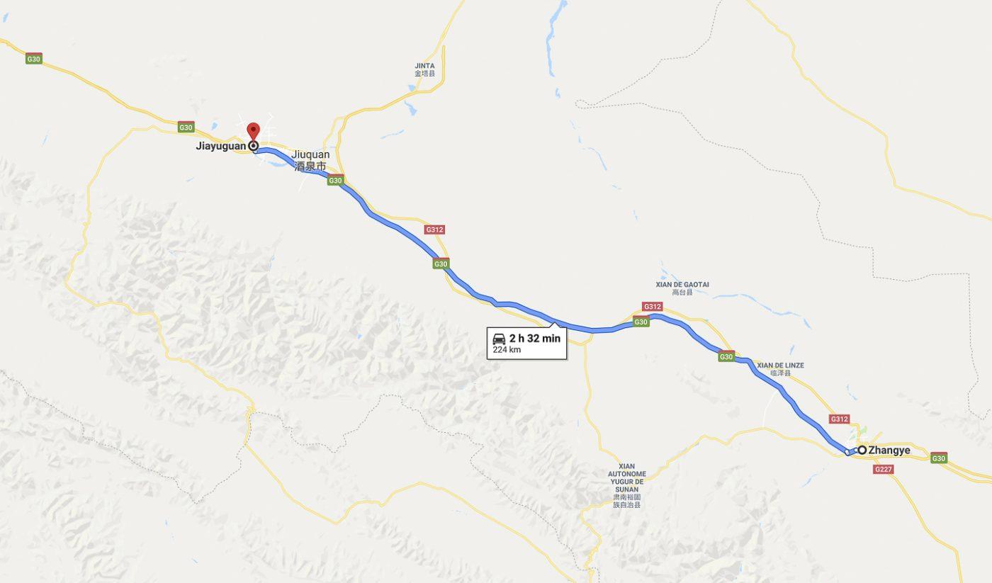 Route vers Jiayuguan