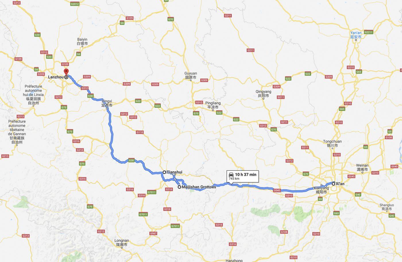 Trajet du jour de Xi'an à Lanzhou