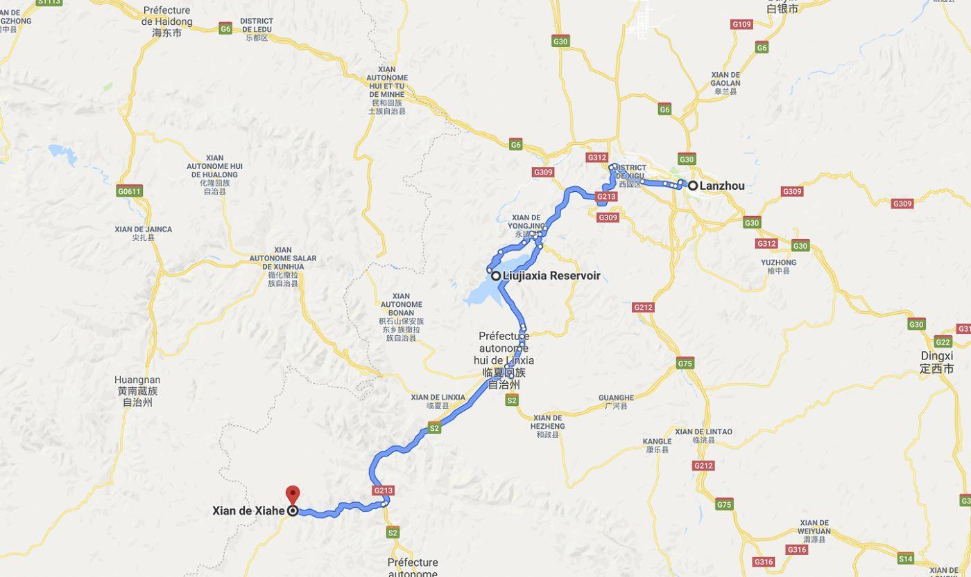 Trajet du jour de Lanzhou à Xiahe