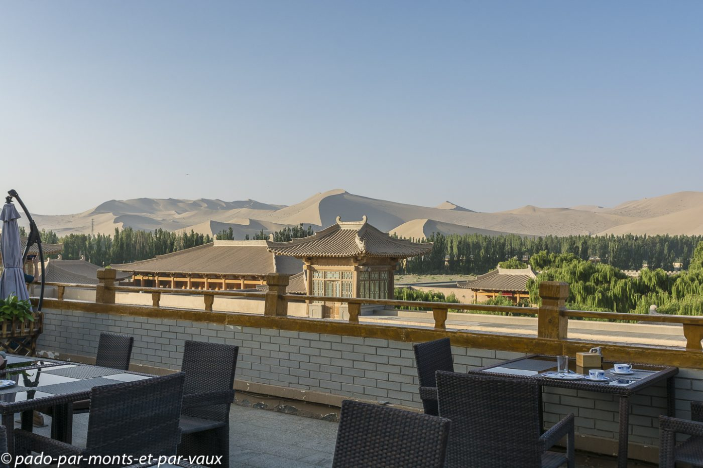 Dunhuang - terrasse de l'hôtel Silk Roads