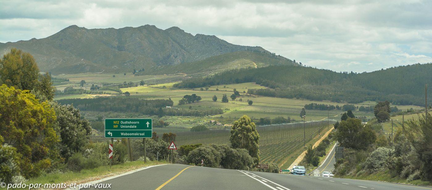 route vers Oudtshoorn