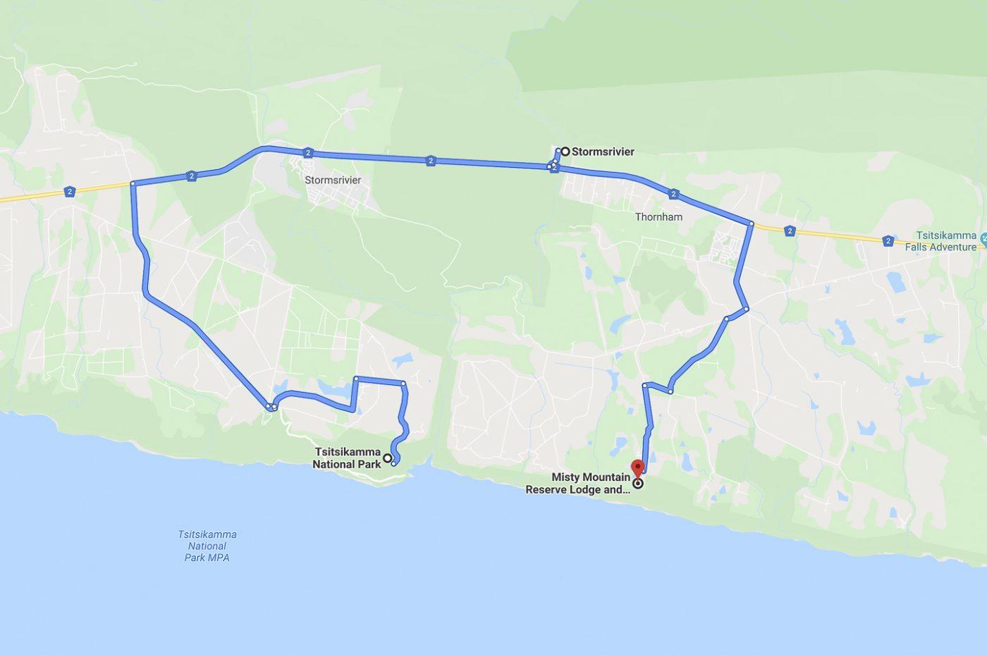 route vers le PN de Tsitsikamma