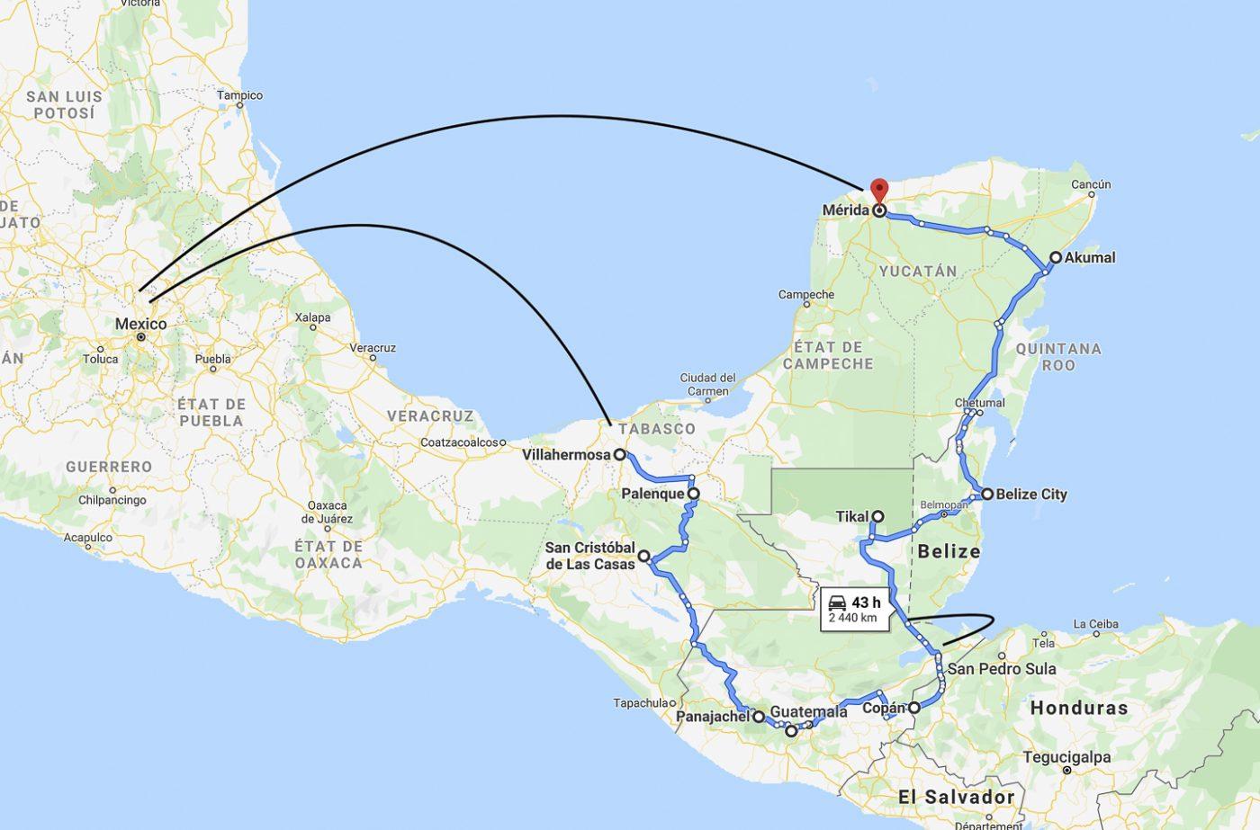 Résumé de l'itinéraire