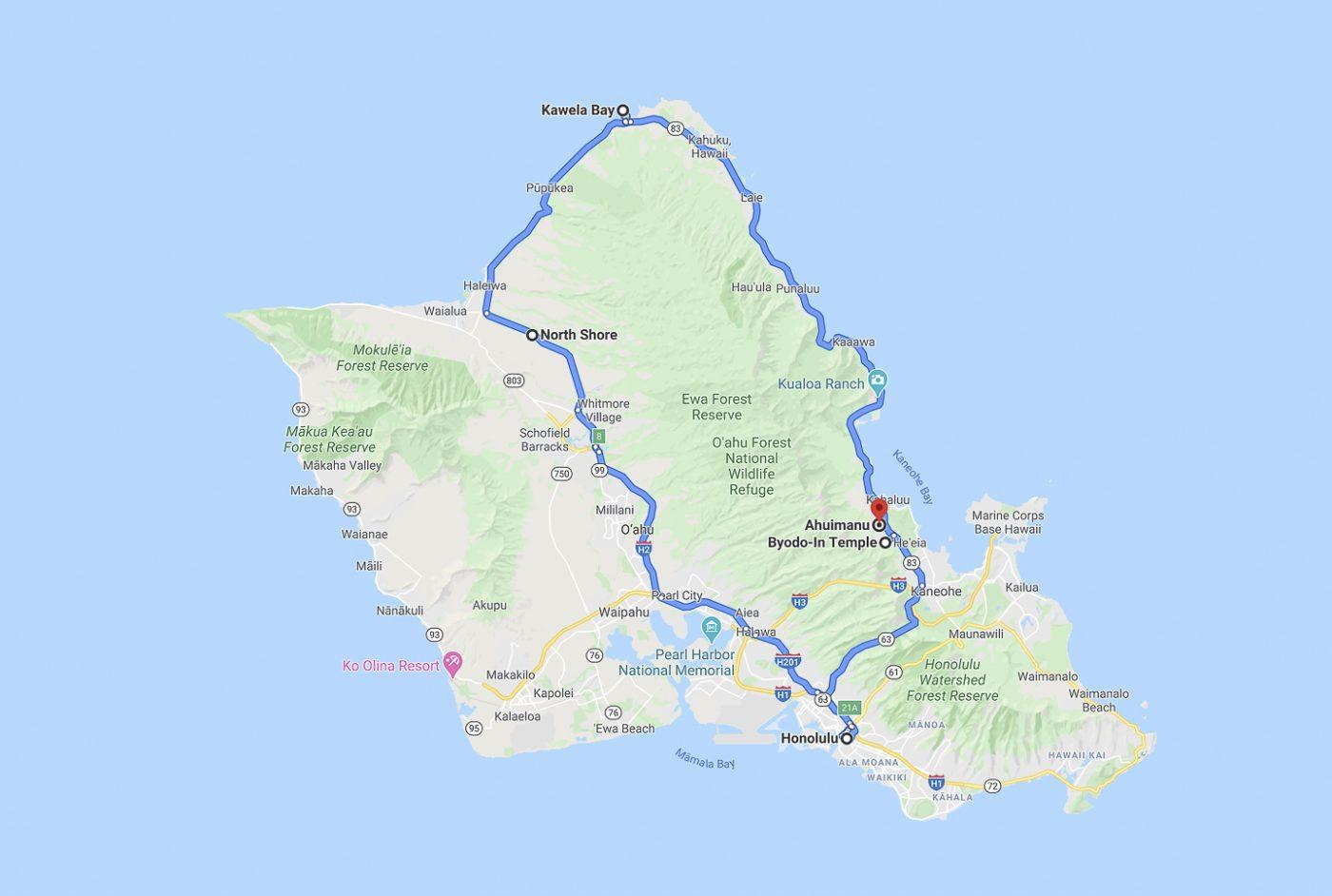 Oahu - trajet du jour