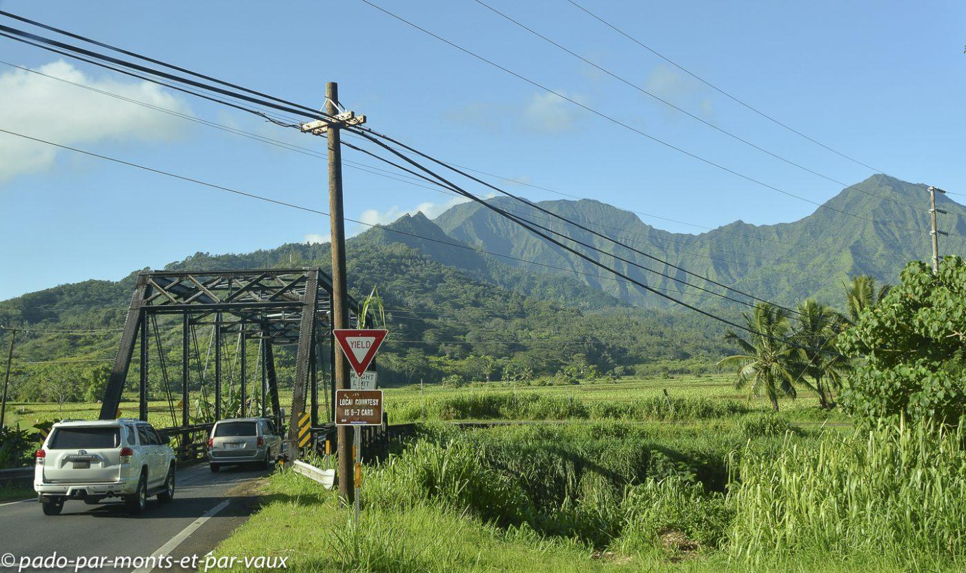 Route vers le nord de Kauai