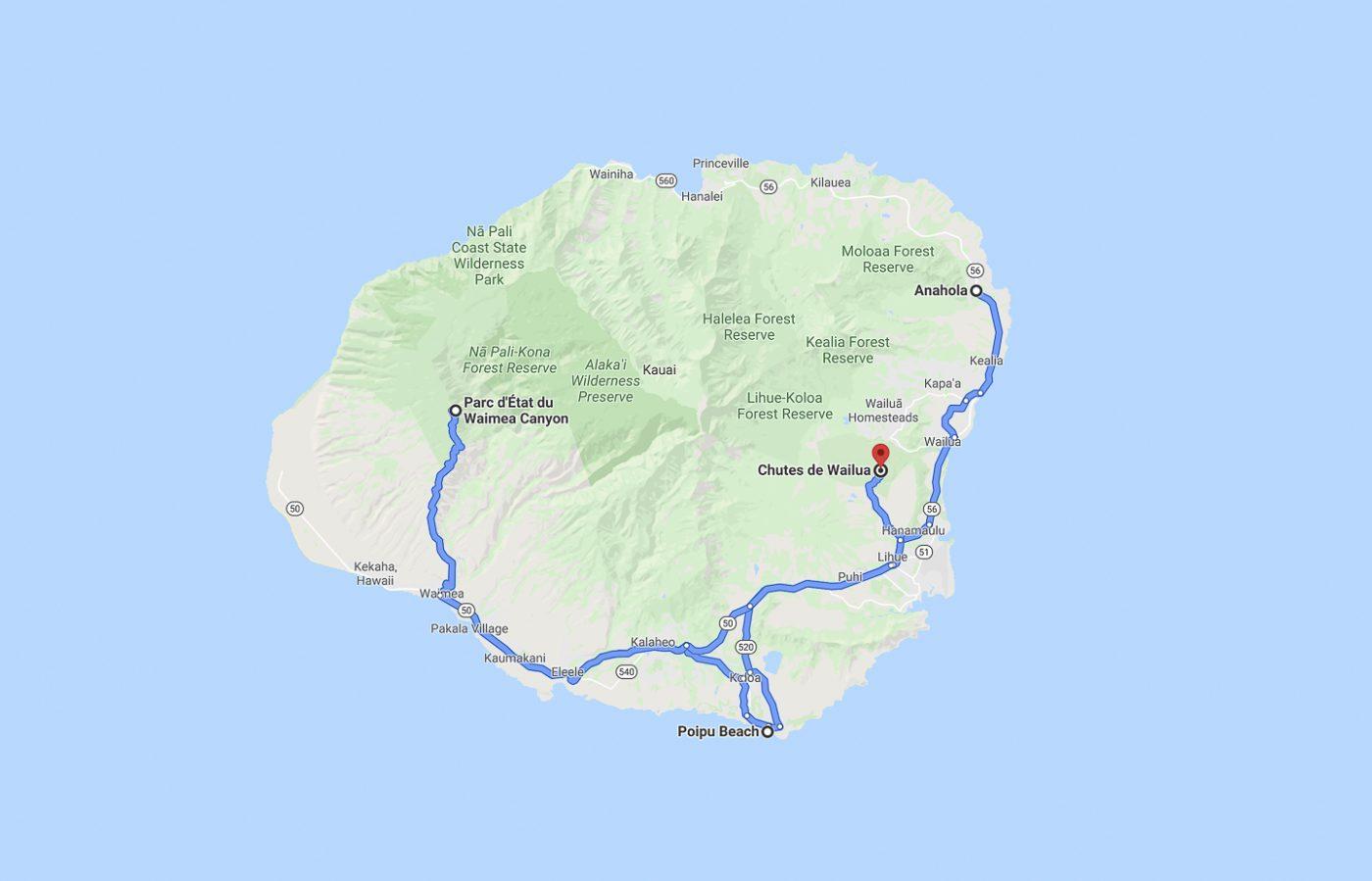 Kauai - trajet du jour