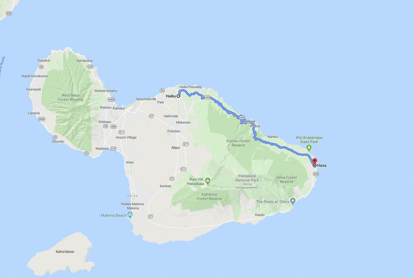 Maui - Trajet du jour