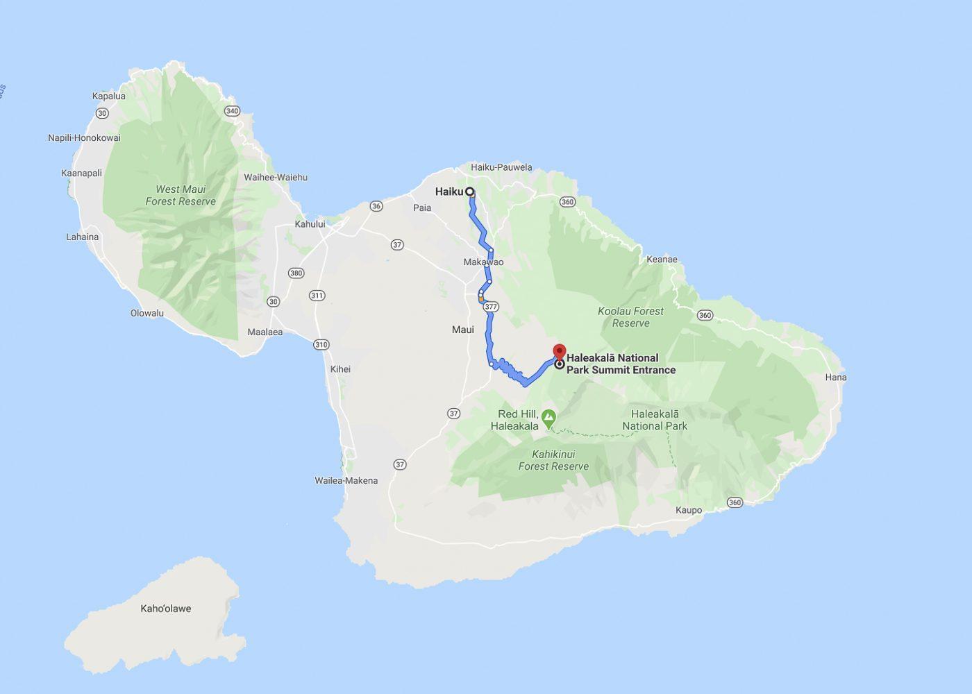 Maui  trajet du jour