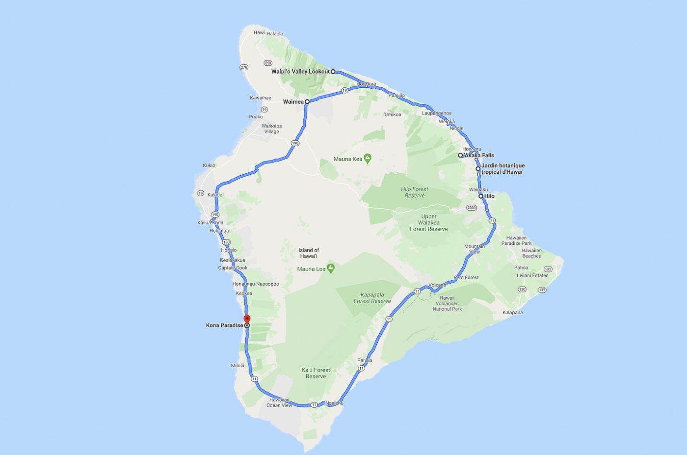 Big Island - trajet du jour